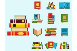 Colorful book vector illustration learn literature study opened and closed education knowledge document textbook