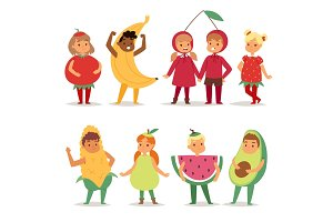 Cartoon kids fruits festive costume boys and girls fancy dress childhood party characters vector illustration.