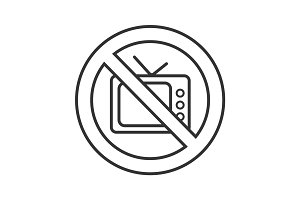 Forbidden sign with tv-set linear icon