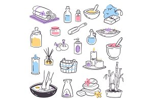 Spa massage therapy cosmetic treatments icons beauty massage relaxation herbal hand drawn natural therapy health care vector illustration
