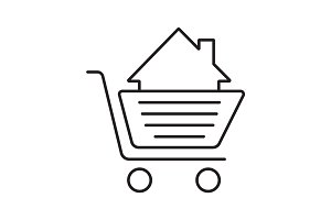 Shopping cart with house inside linear icon
