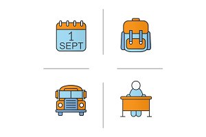 School and education color icons set