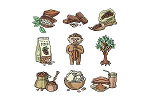 Vector cocoa products plantation handdrawn sketch icons chocolate cacao production sweet illustration.