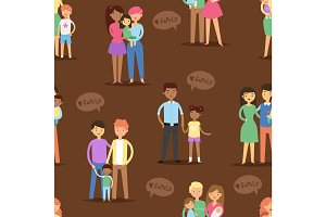 Happy different family couples characters mother father baby multinational people together vector seamless pattern background .