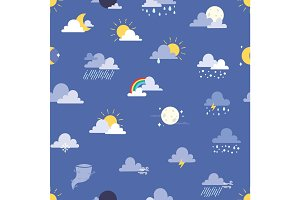Set of weather icons vector illustration. Sun, cloud, rain, moon and weathercock seamless pattern background