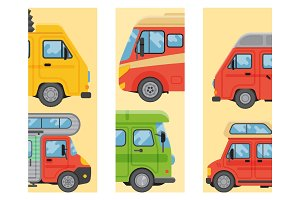 Campers vacation travel car summer brochure nature holiday trailer house cards vector illustration flat transport