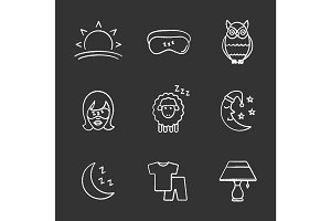 Sleeping accessories chalk icons set