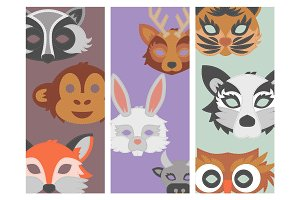 Set of cartoon animals party masks vector holiday illustration party fun masquerade festival decoration.
