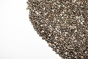 Chia seeds on white background. Isolated. Copy space.