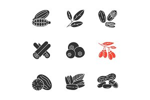 Spices glyph icons set