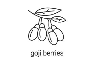 Fresh goji berries linear icon