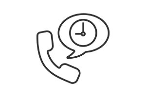 Phone talk duration linear icon