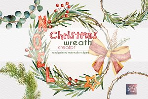 Christmas Wreath Creator, Watercolor
