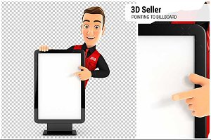 3D Seller Pointing to Billboard