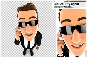 3D Security Agent Standing
