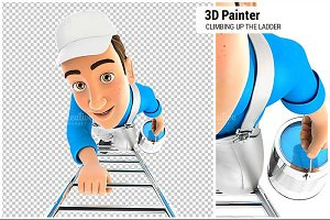 3D Painter Climbing Up the Ladder