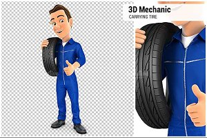 3D Mechanic Carrying Tire