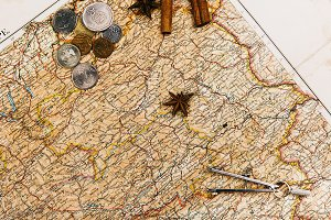 Compasses, spices, envelope lie