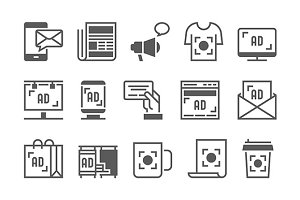Advertisement Vector Icons Set.