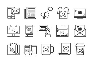 Advertisement Vector Line Icons