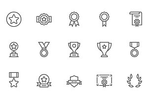 Winning Vector Line Icons