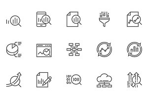 Data Analysis Vector Line Icons
