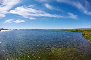 Panoramic view on tne Thingvallavatn lake in Thingvellir National Park