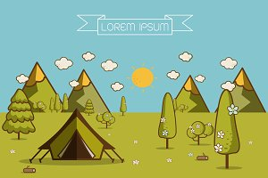 Hiking and camping Vector