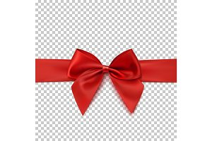 Realistic red bow and isolated on transparent background.