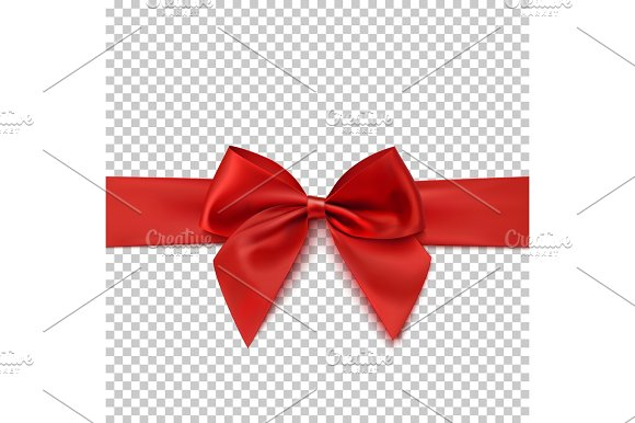 Realistic Red Bow And Isolated On Transparent Background