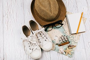 Keds, hat, glasses, notebook