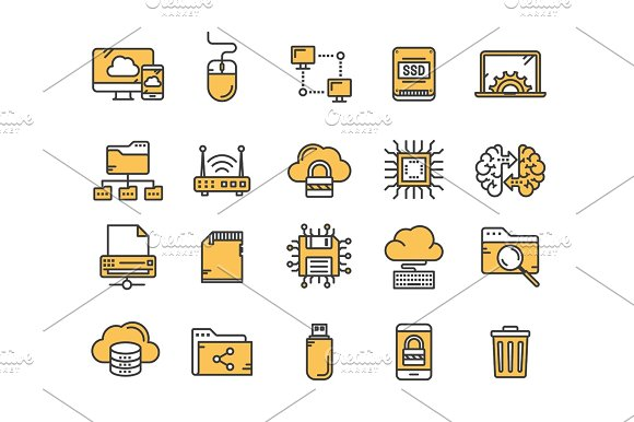 Cloud Omputing Internet Technology Online Services Data Information Security Connection Thin Line Yellow Web Icon Set Outline Icons Collection.Vector Illustration