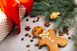 Christmas gingerbread, coffee beans