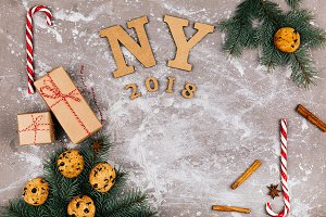 Wooden letters `NY 2018`