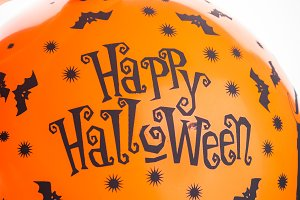 Halloween party orange balloon. Happy holiday