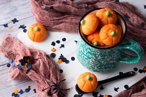 Pumpkin halloween marshmallows in hot chocolate
