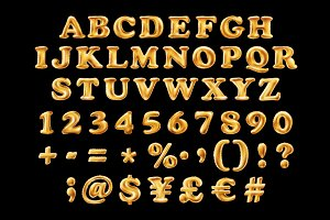 alphabet font gold numbers balloon