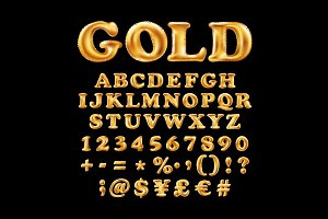 Gold alphabet fonts numbers vector