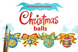 Set of 8 Christmas Balls. Watercolor