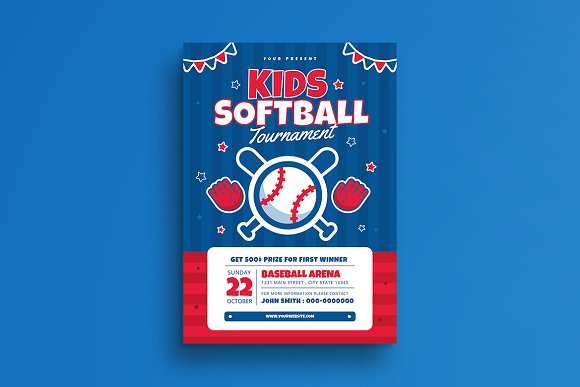 kids softball tournament flyer flyer templates creative market