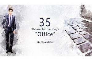"35 watercolor paintings ""Office"""