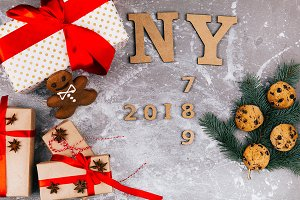 Wooden letters `NY 2018,2017,2019`