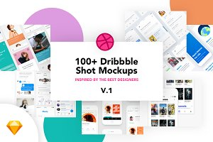 100+ Dribbble Shot Mockups v.1