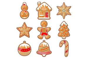Set of various gingerbreads for Merry Christmas
