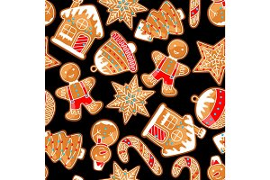 Merry Christmas seamless pattern with various gingerbreads
