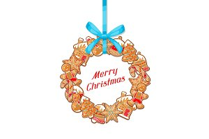 Merry Christmas greeting card with wreath of various gingerbreads