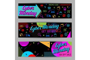 Cyber monday sale banners. Online shopping and marketing advertising concept