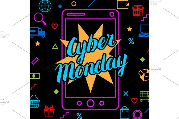 Cyber monday sale background. Online shopping and marketing advertising concept