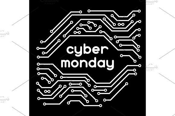 Cyber monday sale background. Online shopping and marketing advertising concept. Pattern of microchip elements
