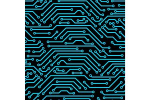 Circuit board seamless pattern. Background of microchip elements